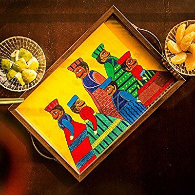 ExclusiveLane Rajasthani Puppet Art Work Hand Painted Canvas Tray - Serving Tray / Breakfast Tray / Home & Kitchen / Kitchen Ware