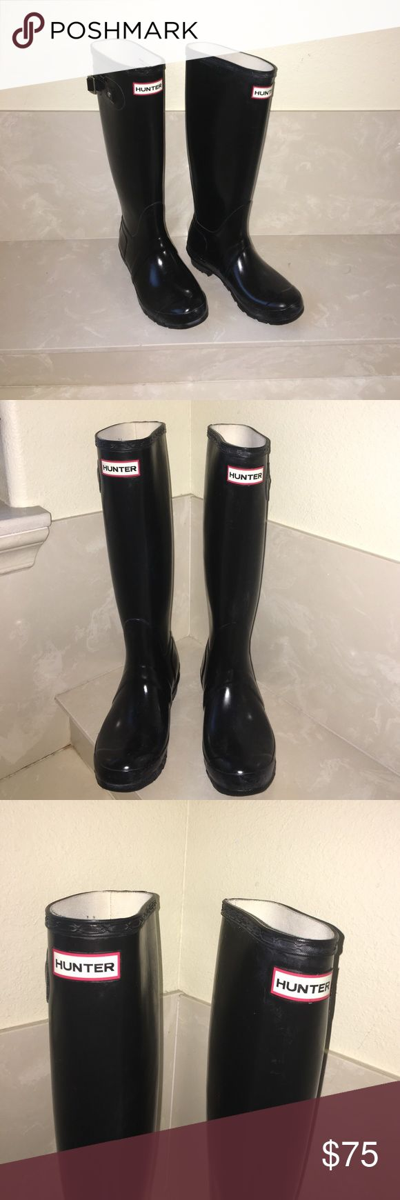 Auth Hunter Tall Wellington black rain boots sz 6 Authentic Hunter Tall Wellington black rain boots sz 6 good condition light scuffs and has some white Markings throughout including on bottom soles. SOLD AS IS FINAL SALE PRICE PLEASE NO OFFERS Hunter Boots Shoes Winter & Rain Boots