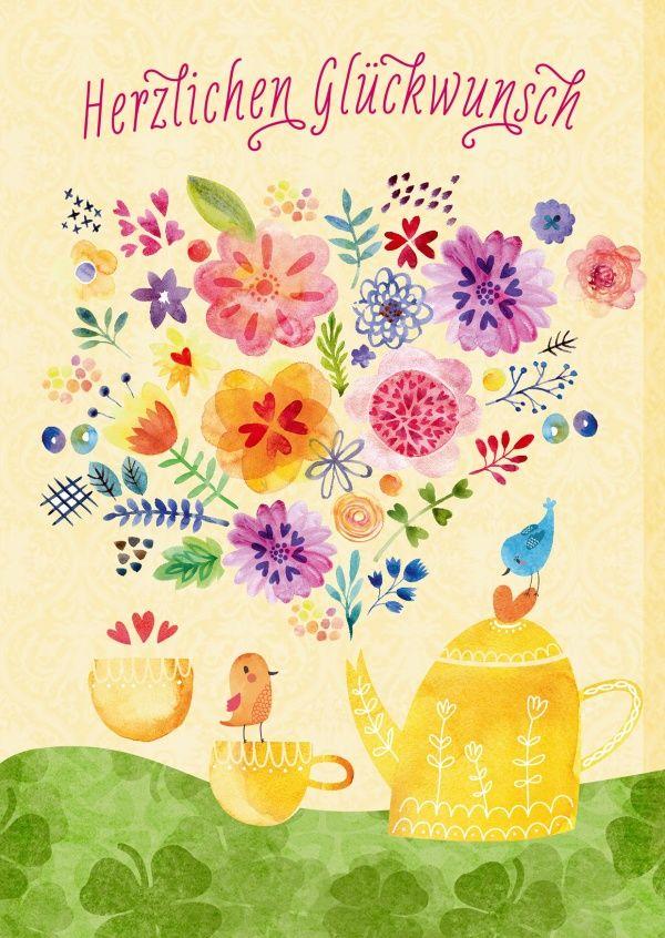 Gießkanne voller Blütenpracht | Happy Birthday | Echte Postkarten online versenden | Gutsch Verlag