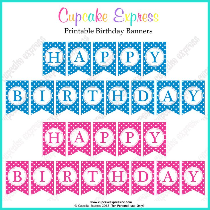 FREE Printable Happy birthday banners pink blue FREE Printables - birthday template word