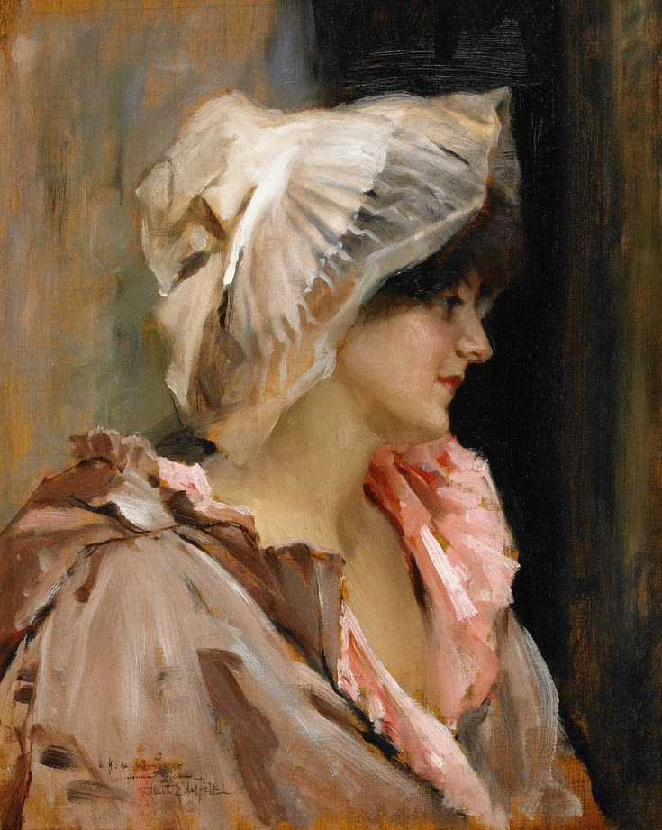 Albert Edelfelt (1854-1905) Parisisk kvinna i en peignoir, probably 1884, 41 x 31,5 cm, Oil on panel.