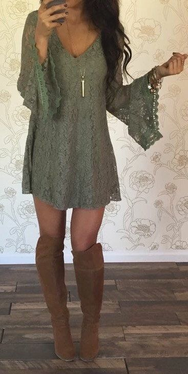 #spring   #outfits  Green Bell Sleeve Lace Dress + Brown OTK Boots