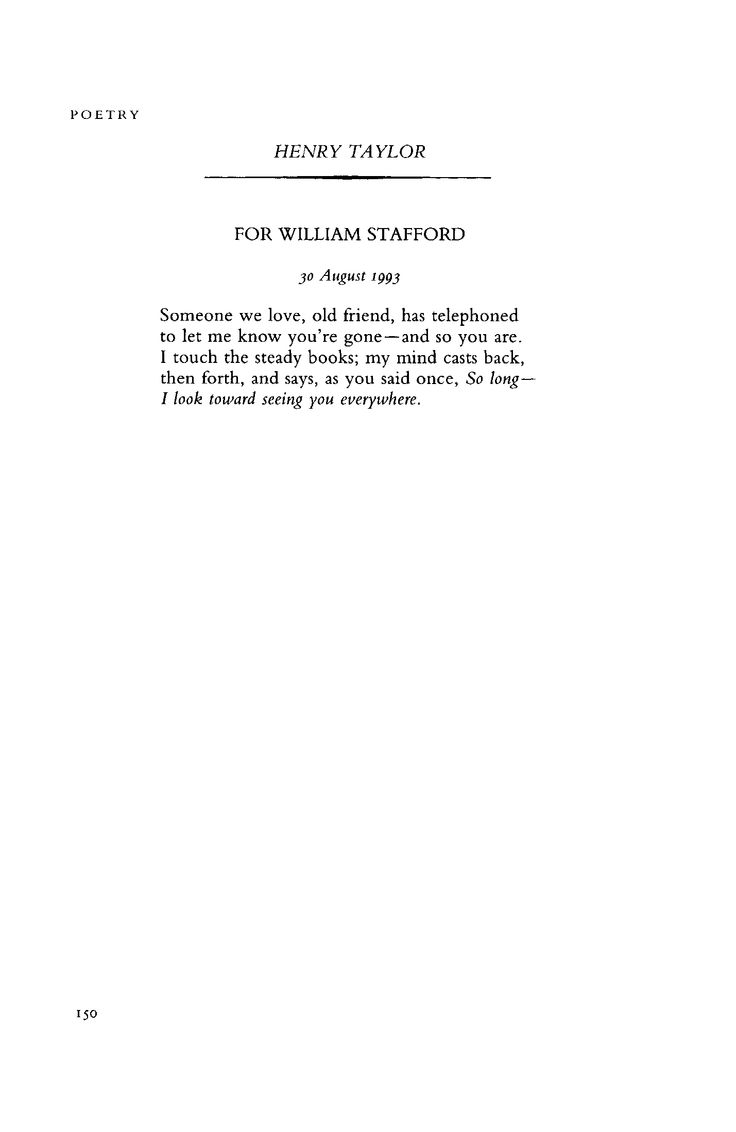 """#Poem for Wednesday, 1/14/2015: """"For William Stafford"""" by Henry Taylor - June 1995 : #Poetry Magazine"""