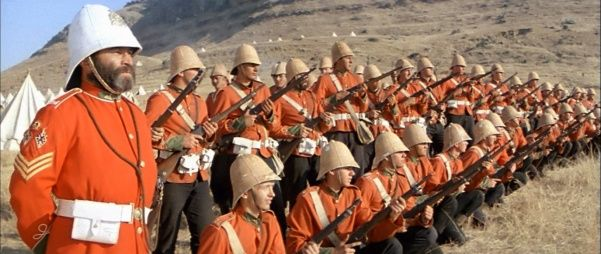Zulu Dawn battle | this was the prequel to the movie Zulu, which took place at Rorke's drift.   This was about the historical Battle of Isandlwana between British and Zulu forces in 1879 in South Africa.   The numerically superior Zulus ultimately overwhelmed the poorly led and badly deployed British, killing over 1,300 troops, including all those out on the forward firing line. The Zulu army suffered around a thousand killed.  Great movie battle.