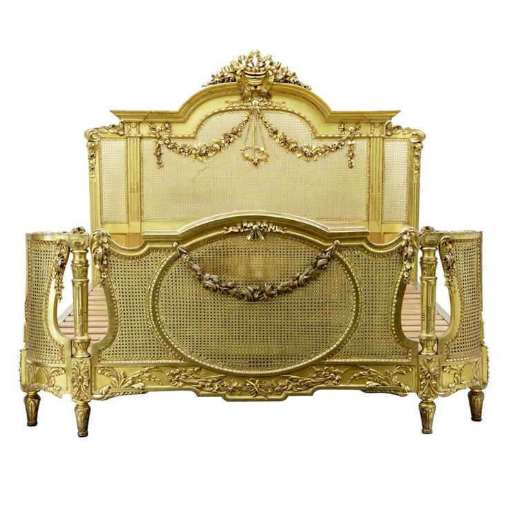 19TH Century Carved Wood and Gilt Bed