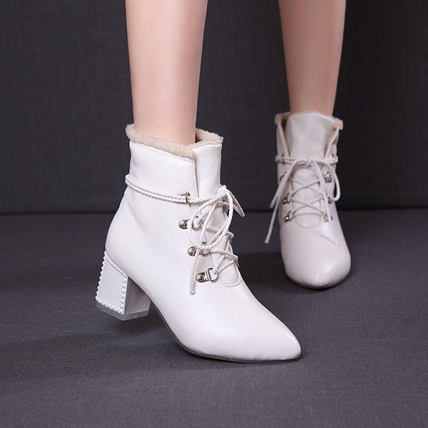 Горячая новая зимняя 2014 женщин сапоги каблуки ню шнуровка и бархат теплые дикие короткие сапоги Плюс Размер 32-43 XY156