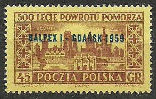 "Poland, 1959, Mi 1118, Overprinted""BALPEX I-GDANSK 1959"", #302, MNH"