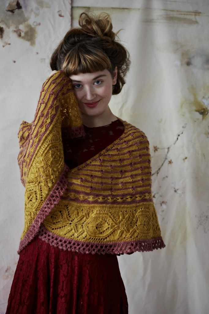 Piccadilly Shawl at Loop London. By Justyna Lorkowska for Loop. Knit with Eden Cottage Yarns, Hayton