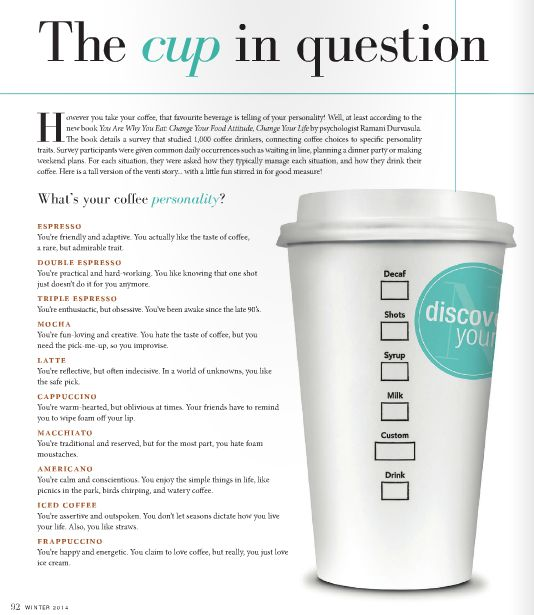 What is your COFFEE personality?  The Cup in Question   Read more online:http://www.nichemagazine.ca/digital-editions/winter-2014/