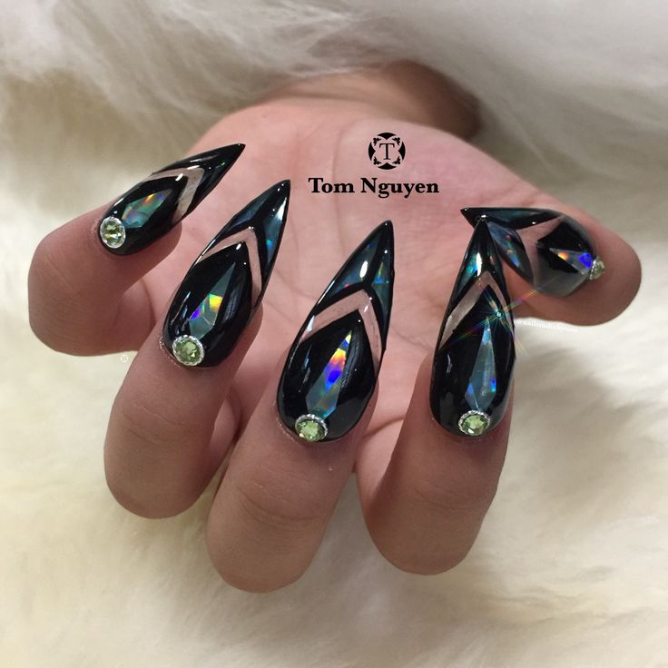 Bold and Sassy Stiletto Holographic Daggers nail design by Tom Nguyen @nailstudiobytom