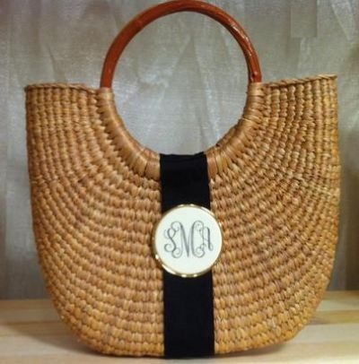Monogrammed Faux Ivory Cocktail Party Half Moon Basket