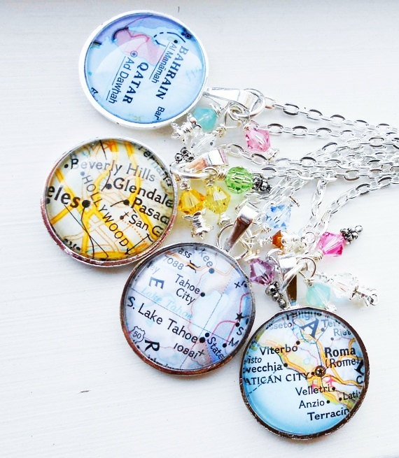 "Your necklace will feature a map of your choice. Your map will be set inside of a lead and nickel-free pendant. It is protected behind a magnifying glass dome and measures approximately 1"" diameter. MEMBER - DesignsByTaylor2u"