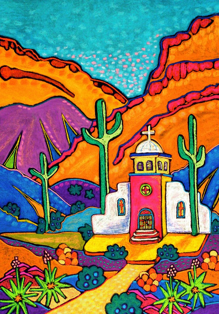 mission Jenny Willigrod, Original Southwest Art Chalk/Pastel but maybe good in watercolor Mexican Artwork, Mexican Paintings, Mexican Folk Art, Southwestern Art, Mexico Art, Cactus Art, Chalk Pastels, Naive Art, Whimsical Art