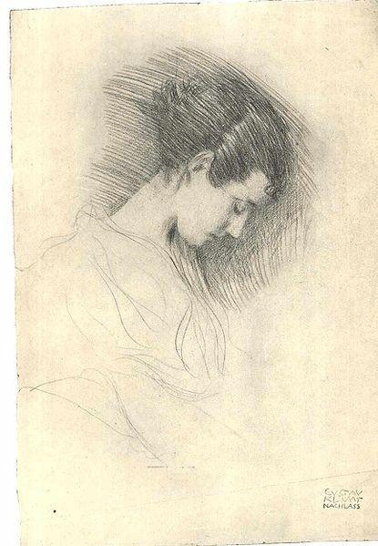 Portrait of a Girl with Bended Head  Gustav Klimt