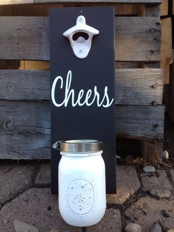 A personal favorite from my Etsy shop https://www.etsy.com/listing/246145164/wall-mount-bottle-opener-cheers-with