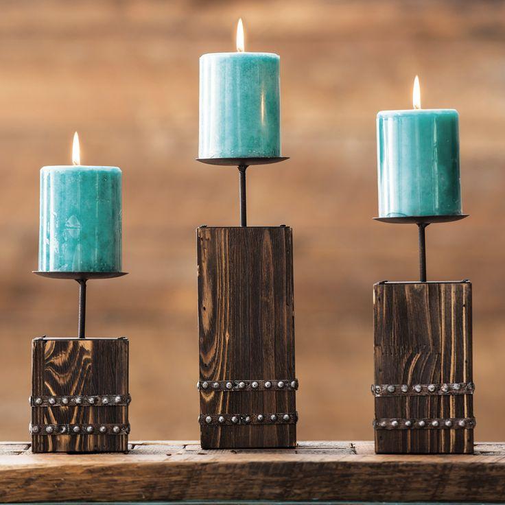 Southwest Wood Candle Holder Set - 3 pcs - OVERSTOCK