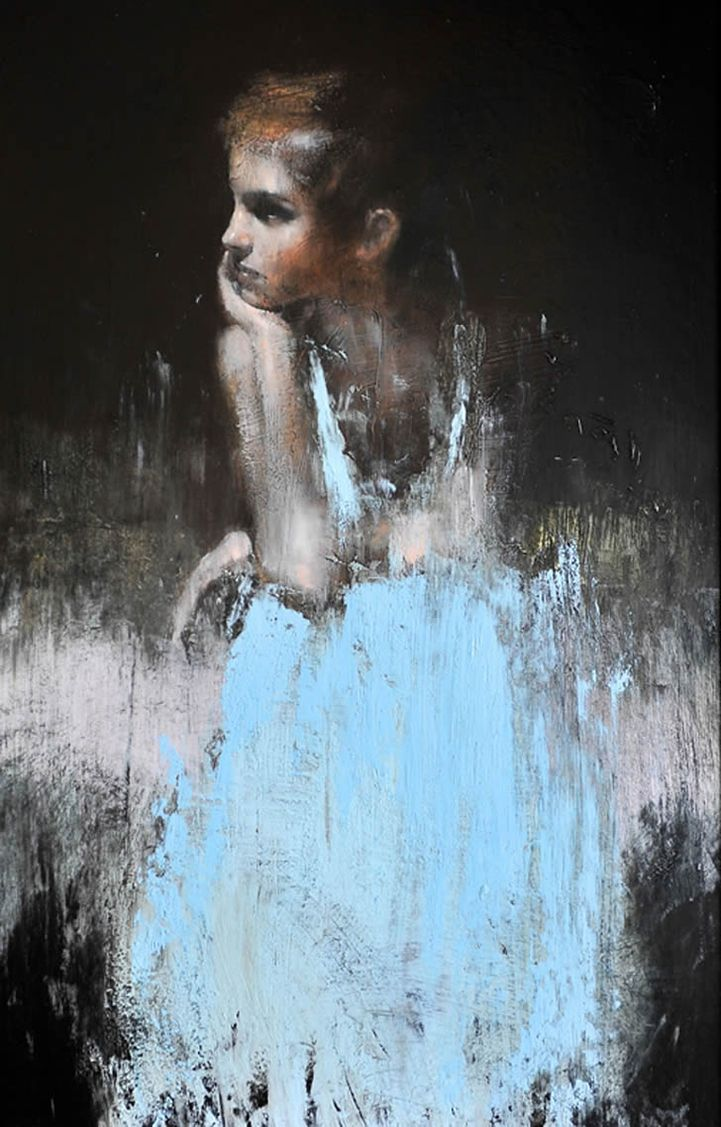 Soft emotion in blurry form pours out of these feminine portraits by artist Mark Demsteader. The Manchester-based contemporary figurative artist is a self-taught master of the human form. His oil on canvas pieces feature pale figures set against a dark background.