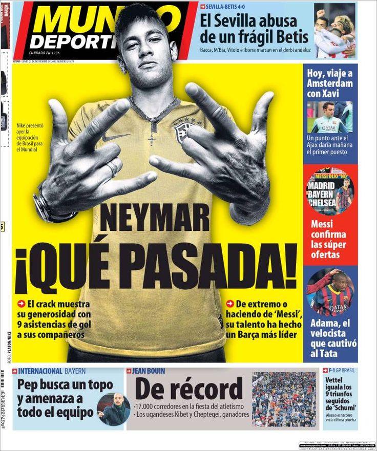 Los Titulares y Portadas de Noticias Destacadas Españolas del 25 de Noviembre de 2013 del Diario Mundo Deportivo ¿Que le pareció esta Portada de este Diario Español?