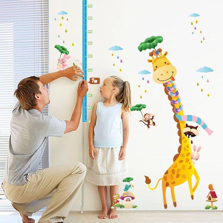 Çocuk Odası Dekorasyonu Boy Ölçen Zürafa PVC Duvar Sticker