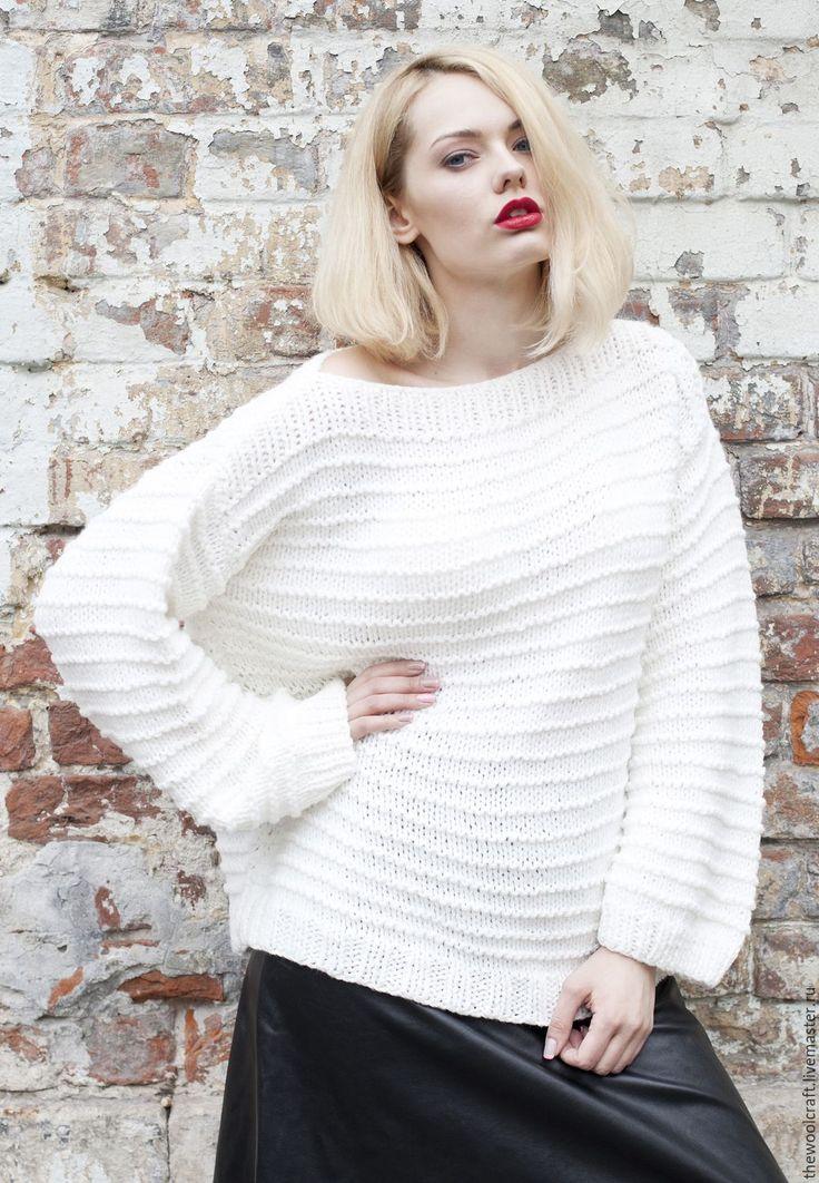 Купить Белый свитер - белый, свитер, свитер вязаный, свитер женский, весенний свитер