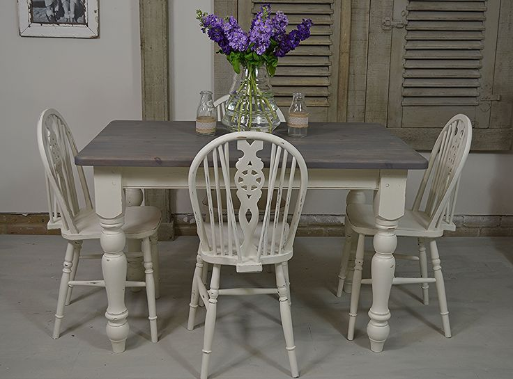 Farmhouse style in abundance, with this country dining set painted in Farrow & Ball James White. We've distressed the wood bringing out plenty of charming character!  https://www.thetreasuretrove.co.uk/tables/small-farmhouse-dining-set