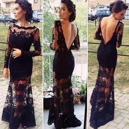 Sexy Backless Long Sleeve Floor-length Lace Dress - Clothing