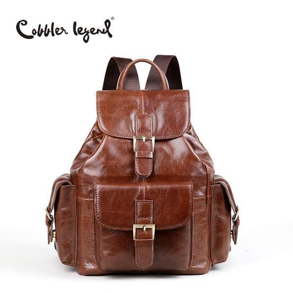 Genuine Leather Women's Backpacks For Teenagers Girls Women Backpack Preppy Styl