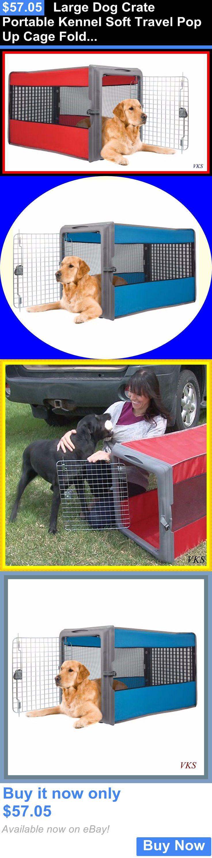 Animals Dog: Large Dog Crate Portable Kennel Soft Travel Pop Up Cage Folding Collapsible New BUY IT NOW ONLY: $57.05