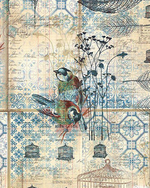 Tim Holtz - Eclectic Elements Wallflower - Azulejo Birds - Quilt Fabrics from www.eQuiltercom