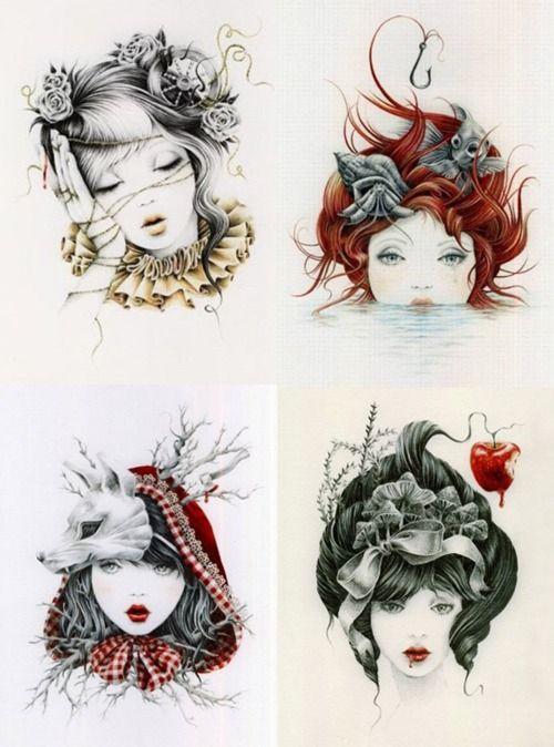 Artiste inconnue. La technique utiliser est le dessin, c'est 4 filles dessiner de manière différente. Il y a comme couleur des couleur vives ( jaune, rouge, orange ...) Chaque jeune fille a un objet différents dans les cheveux comme un loup, une pomme, des oiseau et des roses. Il y a beaucoup de contraste dans les cheveux ou dans les acessoires. Ce que j'ai ressentie en regardant cette oeuvre est de la joie parce que je trouve que sa démontre toute sorte de femme et de styles de genre.