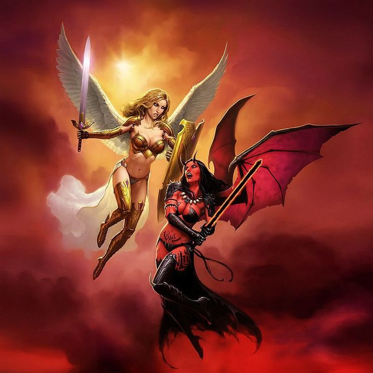 hd prints original oil paintings canvas angel vs demon