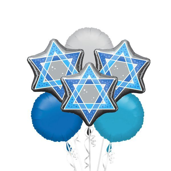 Foil Star of David Balloon Bouquet 6pc