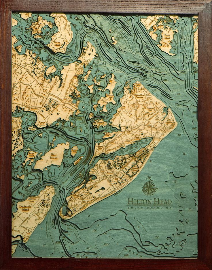 Hilton Head South Carolina Wood Map 62