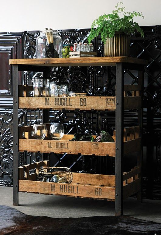 FleaingFrance.....industrial style. Great if you can find it- or else stamp an available metal and wood shelving unit to make it more interesting. - Kitchen Today
