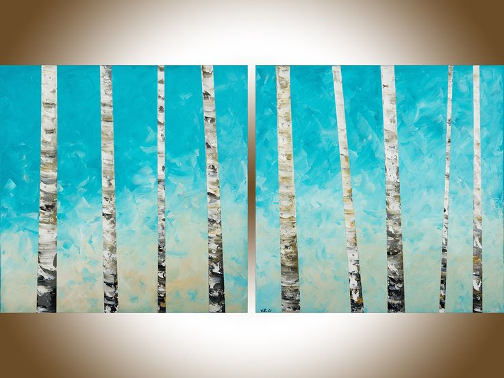 """Birch painting 60"""" extra large wall art wall decor painting on canvas blue white black home office wall hanging by qiqigallery by QiQiGallery on Etsy"""