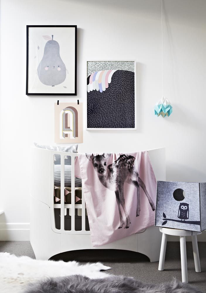 Norsu Interiors Baby Bedroom, featuring product from By Nord Copenhagen, Fine Little Day, Hanna Konola, Sne Design, OYOY Living Design, ferm LIVING, Snowpuppe and Natures Collection. Styling: Julia Green, Photography: Armelle Habib www.norsu.com.au