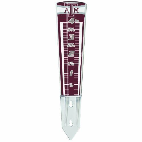 """NCAA Texas A&M Aggies Rain Gauge by WinCraft. $13.51. Made in USA. Insert into the ground or mount on a fence, deck or building. Heavy duty durable acrylic. Magnifies numbers by 35%. Perfect for the #1 fan. Magnifying Rain Gauge 12 1/2"""" Tall Acrylic. Designed to magnify the numbers by more than 35%. The Gauge is designed to be inserted in to the ground or mounted on a post, deck or building. Made in the USA."""