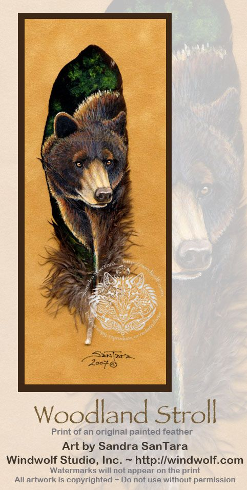 Painted feathers of Bears at Windwolf Studio