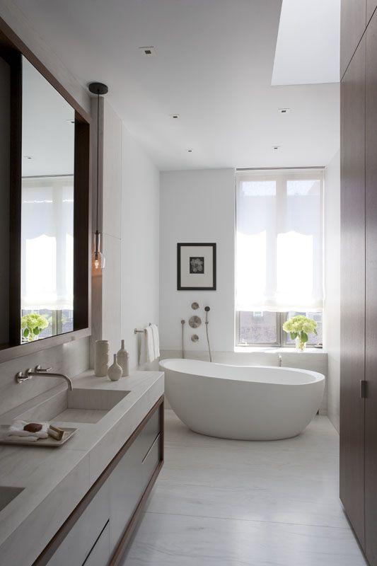 Love these recessed stone sinks.: Decor Ideas, Bath Tubs, Modern Bathroom Design, Bathtubs, Bathroomdesign, White Bathroom, Bathroom Interiors Design, Contemporary Bathroom, Design Bathroom