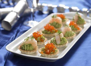 Minitarteletter med avocado og rogn/rejer