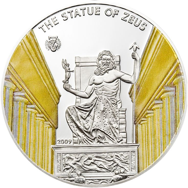 """This awesome coin from our """"Antique 7 Wonders of the World"""" collection features the statue of Zeus, who was the supreme Olympic God. The statue was supposedly about 13 meters high and 8.8 meters wide and made of gold, ivory, and ebony. Only remains exist today."""