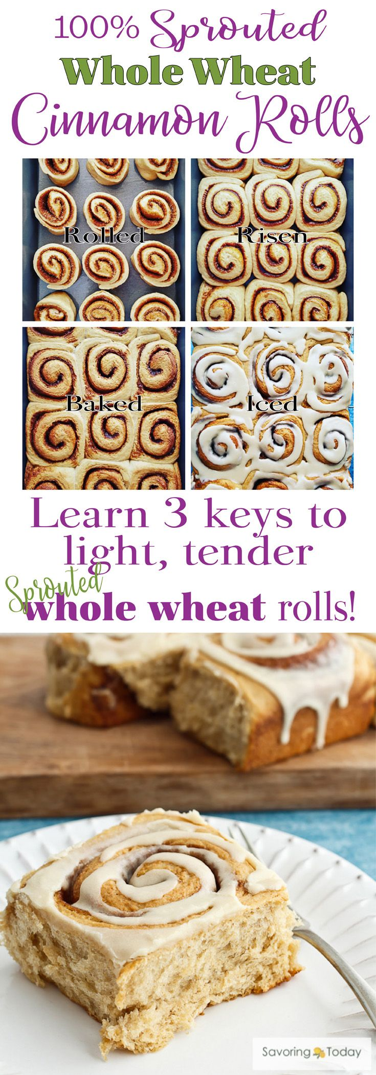 Sprouted Whole wheat is a healthier choice when baking your favorite breads. Learn the 3 keys to light and tender baked goods using 100% sprouted whole wheat in this Cinnamon Roll Recipe. A favorite Christmas or brunch treat your whole family will love and you can feel good about.
