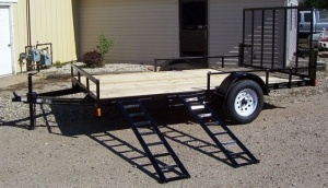 """83 """" x 14 ' Steel Utility ATV Trailer with Side Ramps"""