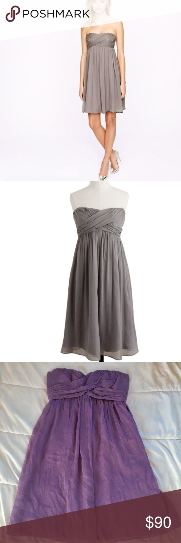 J. Crew Purple Taryn Silk Chiffon Strapless Dress J. Crew Purple Taryn Silk Chiffon Dress   Size 2 Worn once in good condition Strapless Dress Wedding dress Mini above the knee Dress  A great new strapless silhouette that's soft and romantic in floaty silk chiffon with a delicate crinkled texture (it drapes beautifully on the body, so it's incredibly flattering too).   A-line silhouette. Fitted bodice. Silk chiffon. Falls above knee Back zip. Lined. Dry clean. J. Crew Dresses Mini