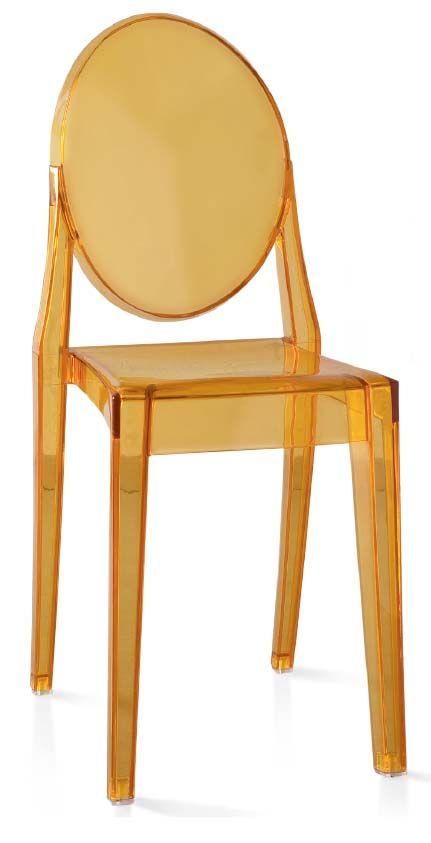 Sedia tipo Kartell. Imitazione sedia Kartell in policarbonato trasparente colorato fumè o giallo.