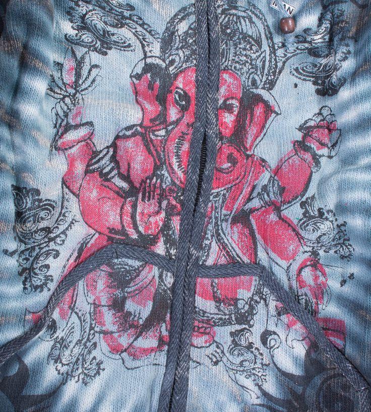 Kunst und Magie Ganescha Batik Strickjacke Jacke Zipfelkapuze  mit Fleecefutter – Bild 2