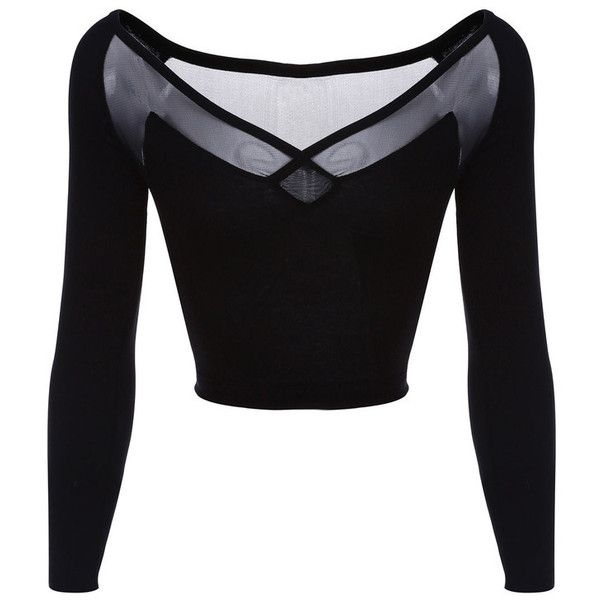 cf71049c245e5 Black Long-Sleeve Sheer Mesh Back Crop Top ( 33) ❤ liked on Polyvore  featuring tops