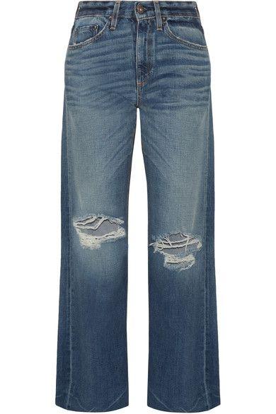 Simon Miller - Basin Distressed Wide-leg Jeans - Mid denim - 24