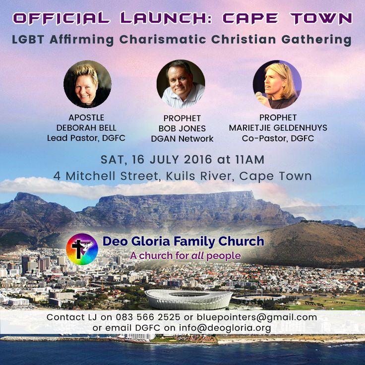 Join us at the official launch of our new LGBT affirming Charismatic Christian Church in Cape Town tomorrow, Sat, 16 July at 11am! ***NB: VENUE updated! with plenty parking!***  If you live in or near Cape Town, don't miss what is going to be an incredible meeting in the Spirit.  For more information, please check the details on the flyer.