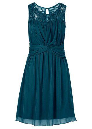 Trikåklänning, BODYFLIRT, smaragdgrön
